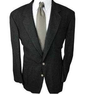 Oscar de la Renta Brown Green Wool Blazer Size 46R